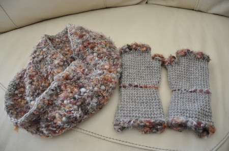 snood,mitaines,crochet tunisien